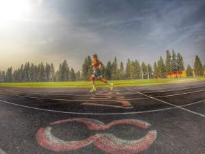 Final track workout for Hood to Coast at Cascade Middle School in Bend.