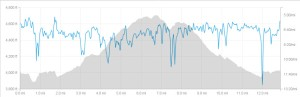 Elevation profile of Super Dave's Down and Dirty Half Marathon.