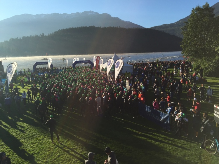 A great picture that my wife captured of the line of athletes before entering the swim. The line got much longer, with all 1,500 athletes rolling into the water over a 10 minute period.
