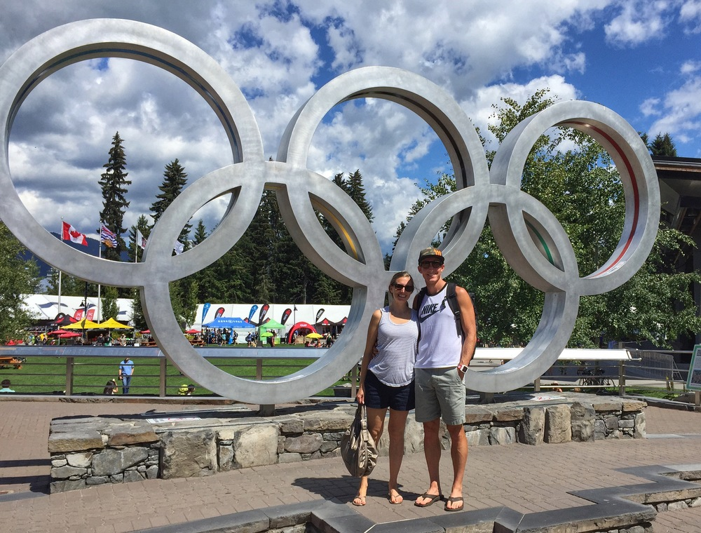 Enjoying the sites in Whistler. This is at the Olympic Plaza in Whistler where the 2010 Winter Olympics award ceremony was held.