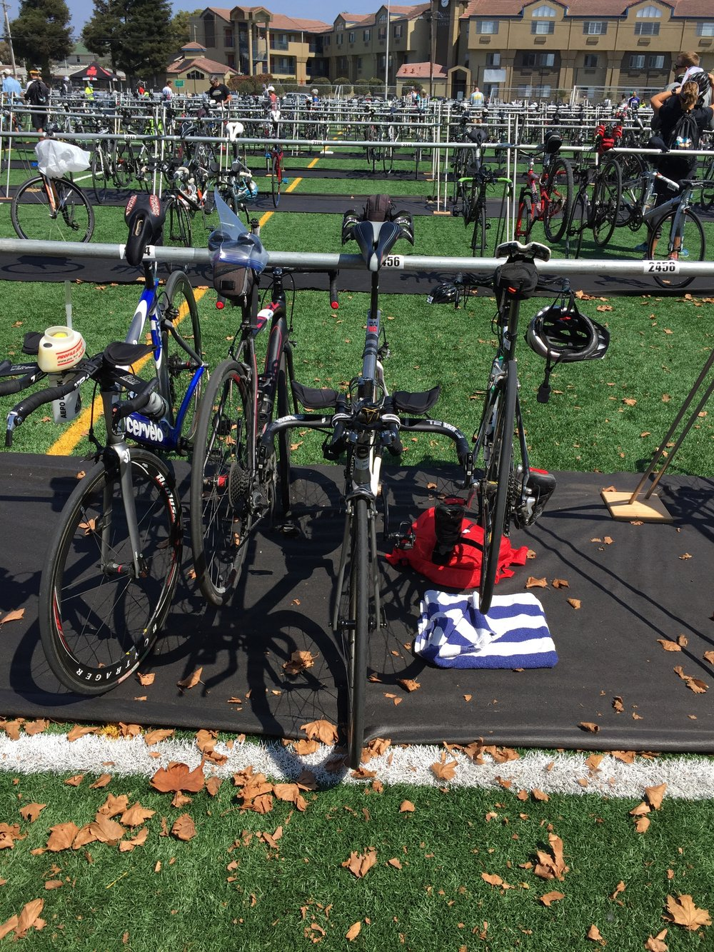My bike all setup in Transition. You can hardly see it, which means that the wind can't either - that is fast!!!