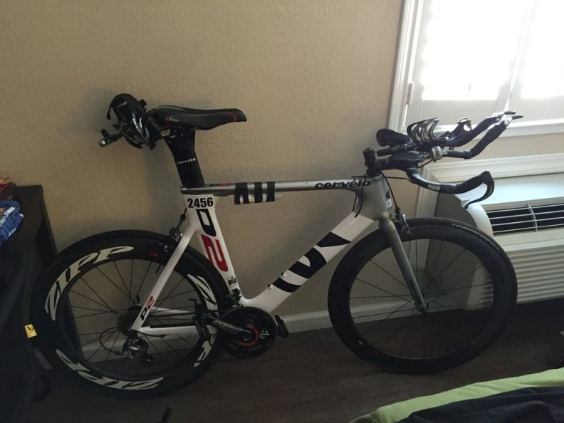 My Cervelo P2 all dressed up for the big race! Zipp wheels, Power2Max power meter, new bike fit, almost as aero as I think I'll be able to get it!