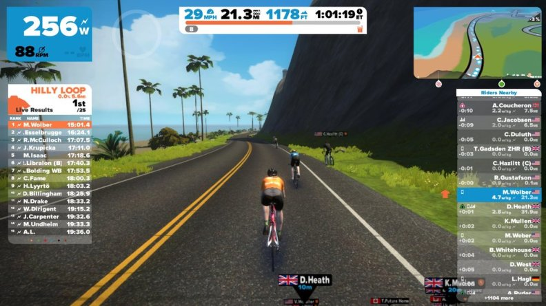 A screenshot of Zwift. In this shot I had recently had the fastest time for a popular segment and was wearing the Orange jersey because of that accomplishment!